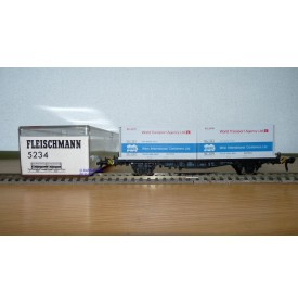 Fleischmann 5234 wagon plat porte conteneurs Lbs 598 World Travel Agency DB BO