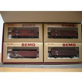 BEMO HOm  7451 100,  Coffret 4  wagons tombereau type E  RhB BO