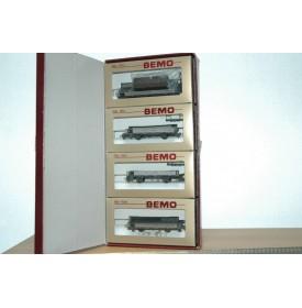 BEMO HOm  7463 100,  Coffret 4  wagons plats type Kk-w  RhB BO