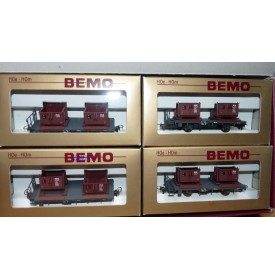 BEMO HOm  7458 100,  Coffret 4  wagons plats type Kk  avec conteneurs à gravier  RhB BO