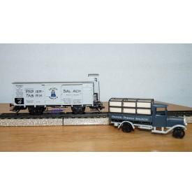 Märklin 48096 / 96701, wagon couvert à guérite et camion Papier Fabrik Salach  K.W.Sts.E.Neuf BO