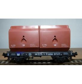 ROCO 4323, wagon plat type OKMM 58 chargé de conteneurs spéciaux DB BO