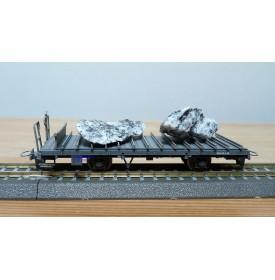 BEMO 2270 128, wagon plat chargé de 2 rochers type Kk-w  N° 7338  RhB  BO