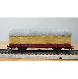 MÄRKLIN   46365,  wagon plat à ranchers type R 02 chargé de paille et gabarit  DB  Neuf  BO