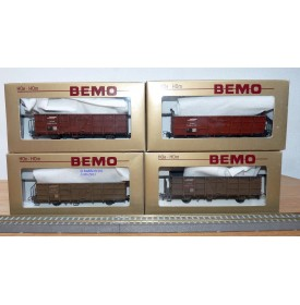 BEMO HOm  7455 100,  Coffret 4  wagons tombereaux type Fb   RhB  BO