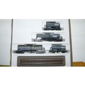 ROCO 44021 , set 4 wagons citernes BASF  DB Neuf BO