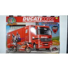 ITALERI 3815, MERCEDES Actros et semi remorque Atelier DUCATI Corse Infostrada 2002 plus DUCATI 998 F 02 NEUF BO 1/24