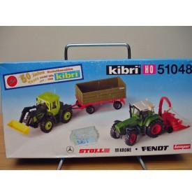 """KIBRI  """"echt """" 51048, Kit  2 véhicules agricoles FENDT KRONE STOLL  50 ème anniversaire de Kibri    Neuf  BO 1/87 HO"""