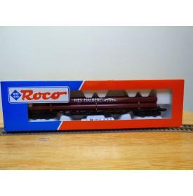 ROCO 47218,  wagon plat à ranchers type Sgjs 716  chargé de tubes HES HALBERG  DB  Neuf  BO