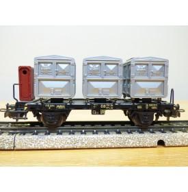 "Märklin ancien  4614.1, wagon plat porte cadres type BTmms 51  chargé de 3 cadres ""Von Haus zu Haus""   DB  BO"