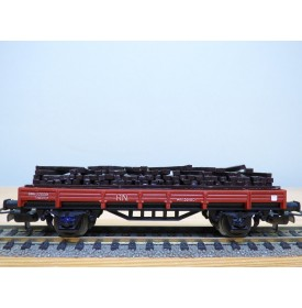 ELECTROTREN  1105, wagon plat  chargé de traverses RENFE BO