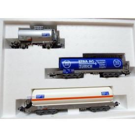 "Märklin 4787,  coffret 3 wagons citerne "" 50 Jahre ETRA ""  SBB  neuf  BO"