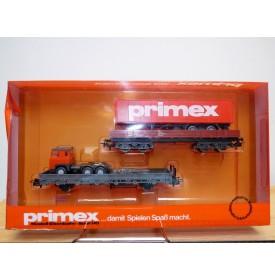 PRIMEX ( Märklin )  4594, coffret 2 wagons plats et camion semi remorque Primex  Neuf  BO