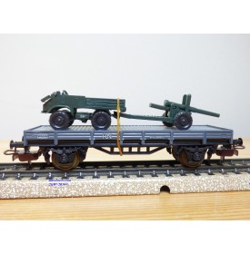ELECTROTREN  1010, wagon plat chargé d' un MERCEDES UNIMOG et d'un canon    RENFE  BO