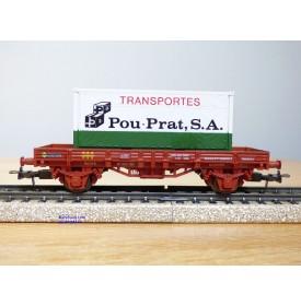 ELECTROTREN  1021, wagon plat  et conteneur 20' Transportes Pou- Prat   RENFE   Neuf  BO