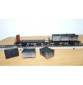 Märklin   48946    wagons plats conteneurs charbon DB BO
