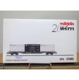 Märklin 47080, wagon plat porte conteneurs   type Sgnss  et conteneurs innofreight    ÖBB  neuf   BO
