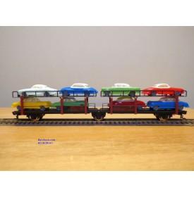 FLEISCHMANN 1472 B, couplage 2  wagons porte autos type Offs55 avec 8 autos  DB  BO
