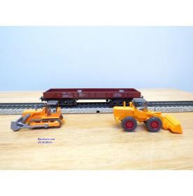 Märklin 4474,  wagon plat à bogies chargé chargeur sur pneus et bulldozerDB  BO