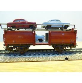 Märklin 4613.3 / 315 / 4G,  wagon porte autos type Off 52 chargé de 4 FORD Taunus 12 M gris et rouge  DB  BO