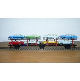 FLEISCHMANN 1472 couplage 2  wagons porte autos type Offs55 avec 8 autos HAMMER   DB BO