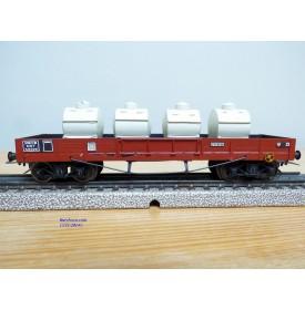 VB  47 Cl,  wagon plat  à 2 bogies type MMT chargé de 4 conteneurs à lait   SNCF     BO
