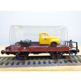 SACHSENMODELLE 76415, wagon plat chargé dun camion OPEL Blitz ( Deutsche Bundespost )  DB    BO