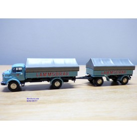 BUB  07751, camion  MERCEDES BENZ  L911  et remorque  LAMMSBRAÜ  Neuf  BO  1/87