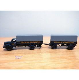 BUB  62177,  camion MAGIRUS DEUTZ  S 6500 et remorque bâchés DEUTSCHE BUNDESBAHN  Neuf   BO  1/87