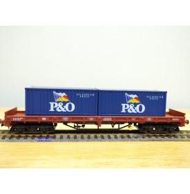 ELECTROTREN 5136K,  wagon plat à bogies  et 2 conbteneurs 20' P&O  DB  BO