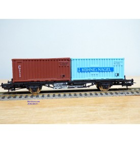 LIMA véro  2854,  wagon plat porte conteneurs KÜHNE & NAGEL  / CTI     DB   BO