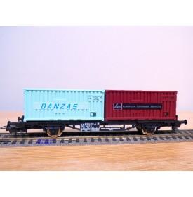 LIMA véro  2851,  wagon plat porte conteneurs DANZAS  / EUROPEAN CONAINER SERVICES    DB   BO