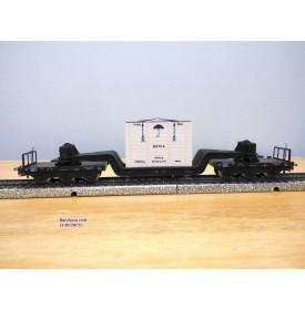 Märklin métal 4618 . 3, wagon surbaissé type SSI 53 caisse BAHIA DB BO