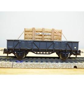 ELECTROTREN  1001 / 8, wagon plat chargé d'une caisse de produits en cristal    RENFE   BO