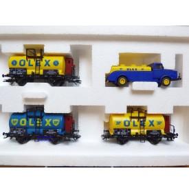Märklin 46751, coffret  3 wagons citernes OLEX / BP et un camion citerne Büssing Olex   DRG   neuf   BO