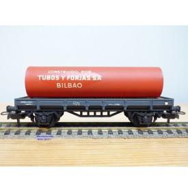 ELECTROTREN  1001, wagon plat chargé d'un tube TUBOS Y FORJAS BILBAO     RENFE  BO