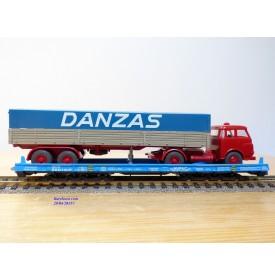 LILIPUT ( WIKING  510a ) 200 52,   wagon surbaissé Rollende Landstrasse et camion DANZAS   SBB  Neuf   BO