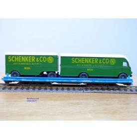 LILIPUT ( WIKING  500 a/1 ) 200 54,   wagon surbaissé Rollende Landstrasse et camion + remorque  SCHENKER  SBB  Neuf   BO