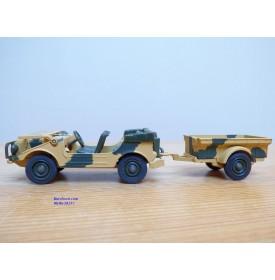 Solido 256,  Jeep ( Peugeot DKW AUTO UNION  Munga ) et remorque   Neuf   BO