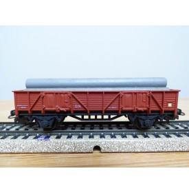 ELECTROTREN  1101, wagon tombereau   chargé de tubes  RENFE BO