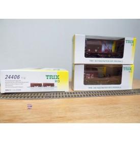 TRIX 24406, coffret 2 wagons à capots télescopiques   DB   Neuf   BO