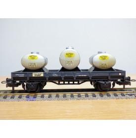 ELECTROTREN  1004,  wagon plat chargé de 3 citernes SEMAT  RENFE  BO