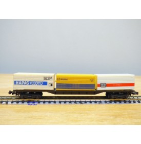 LIMA 320486,  wagon plat 3 containers HAPAG LLOYD, RENFE et DB   BO   N