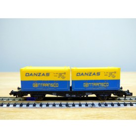 FLEISCHMANN  8233,  wagon plat porte conteneurs chargé de 2 conteneurs de 20' DANZAS   DB  BO   N