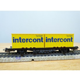 Märklin 4670, wagon porte containers type Berlin  et conteneurs 20'   INTERCONT  DB   BO