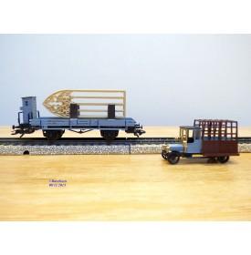 """Märklin 48298,  wagon plat  type  """"Erfurt"""" avec vitraux  et camion de vitrier DRG  neuf  BO"""