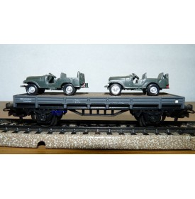 ELECTROTREN  1009 wagon plat chargé de 2 Jeeps  RENFE BO