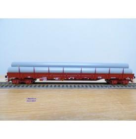 JOUEF 675900, wagon plat  à ranchers  à 2 bogies type  Res  chargé de tuyaux    SNCF  neuf   BO