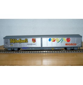 HAG  385 . 08, wagon couvert type Habils BISCHOFFZELL MIGROS  SBB  BO