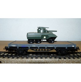 ELECTROTREN  1011 wagon plat chargé d'une automitrailleuse  RENFE BO